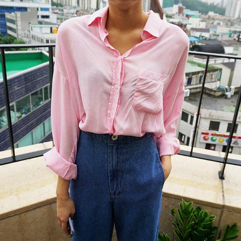 화사한 얼굴은 핑크 셔츠와 함께 완성 가능 #내츄럴마인드 #3만원대 @natural-mind